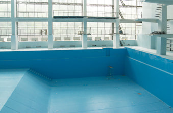 The finished and refurbished swimming pool